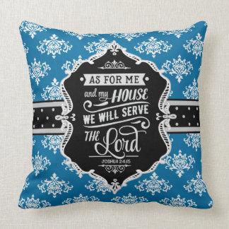 Serve the Lord Monogram Pillow - Black & Sky Blue