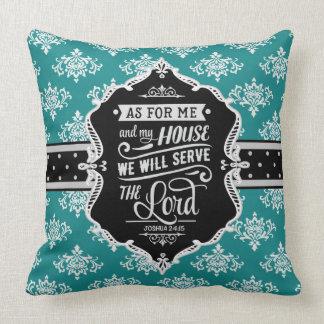 Serve the Lord Monogram Pillow - Black & Teal
