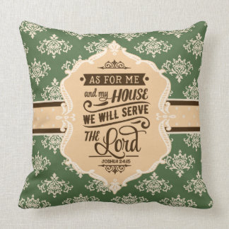 Serve the Lord Monogram Pillow - Green & Brown