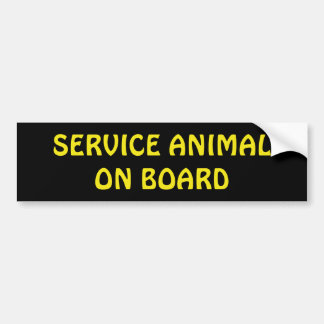 Service Animal On Board Bumper Sticker