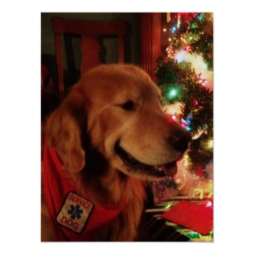 Service Dog & Christmas Tree Glow Posters