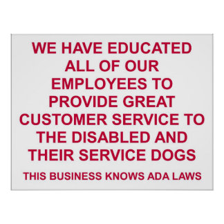 Service Dog Friendly Large Sign Poster