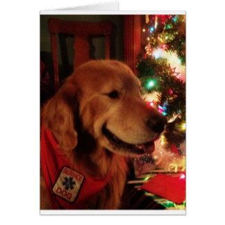Service Dog Jonah & Christmas Tree Lights Greeting Card