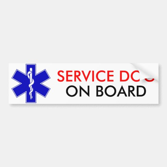 Service Dog On Board Bumper Sticker