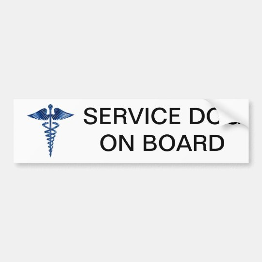 Service Dog On Board Bumper Sticker with Medical