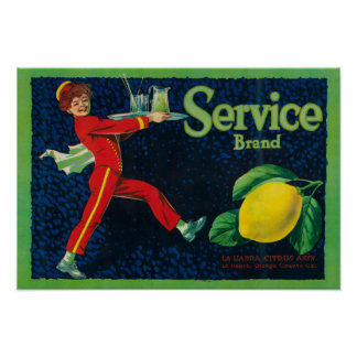 Service Lemon LabelLa Habra, CA Poster