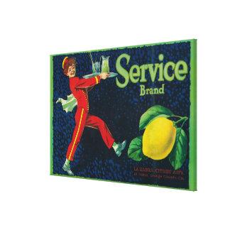 Service Lemon LabelLa Habra, CA Stretched Canvas Print