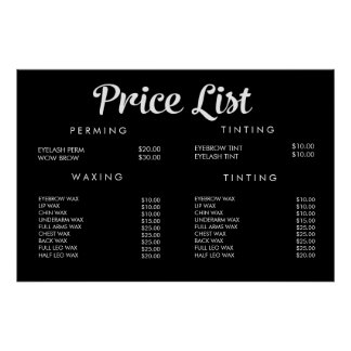 Service Price Menu Custom Printed Poster