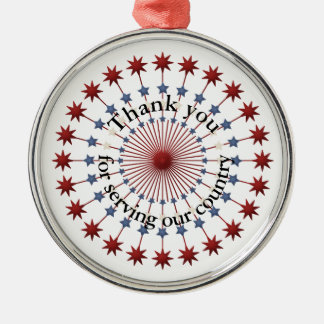 Service to America Thanks, Red White & Blue Stars Christmas Ornament