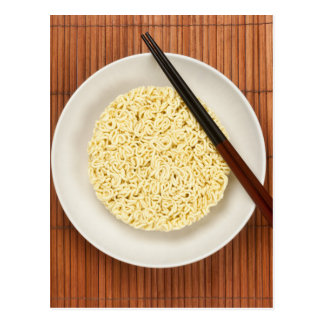 Serving instant noodles post card