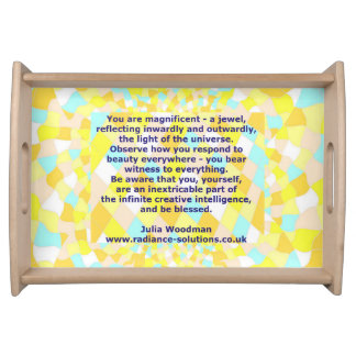 Serving Tray: Blue Gold with Beauty Blessing Quote Serving Tray