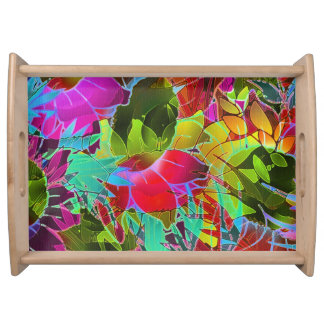 Serving Tray Floral Abstract Artwork