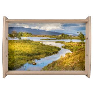 Serving tray of Scottish Highlands landscape