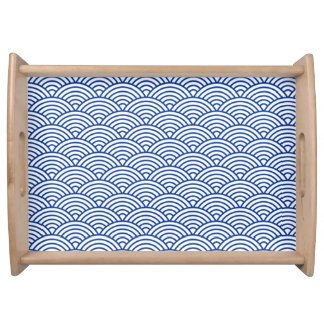 Serving tray with blue and white circles