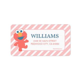 Sesame Street | Baby Elmo Pink Striped Address Label