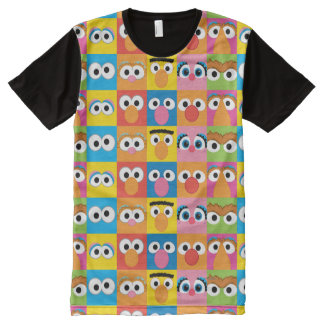 Sesame Street Character Eyes Pattern All-Over Print T-Shirt