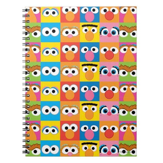 Sesame Street Character Eyes Pattern Spiral Notebook