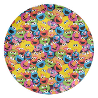 Sesame Street Character Faces Pattern Plate