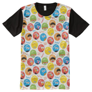 Sesame Street Circle Character Pattern All-Over Print T-Shirt