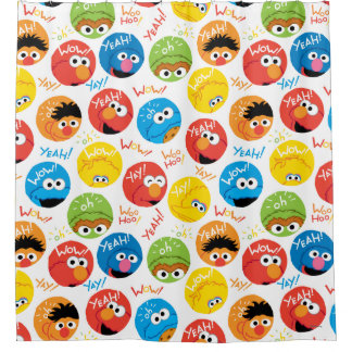 Sesame Street Circle Character Pattern Shower Curtain