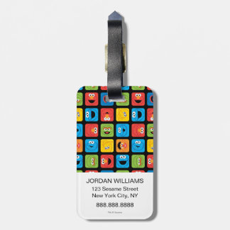 Sesame Street Cubed Faces Pattern Luggage Tag