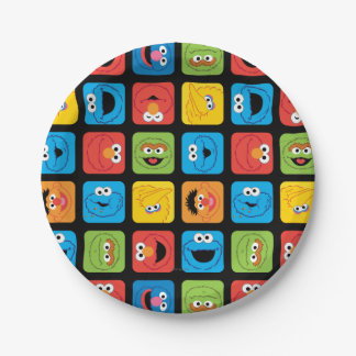 Sesame Street Cubed Faces Pattern Paper Plate