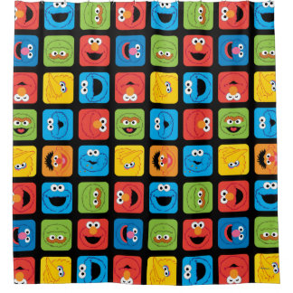 Sesame Street Cubed Faces Pattern Shower Curtain