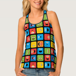 Sesame Street Cubed Faces Pattern Tank Top