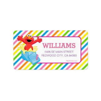 Sesame Street | Elmo Girls Rainbow Striped Address Label