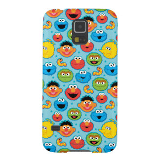 Sesame Street Faces Pattern on Blue Galaxy S5 Cases