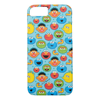 Sesame Street Faces Pattern on Blue iPhone 8/7 Case