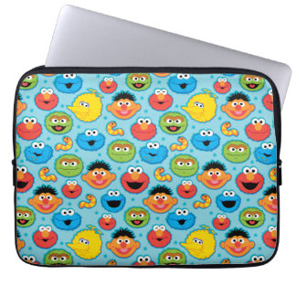 Sesame Street Faces Pattern on Blue Laptop Sleeve