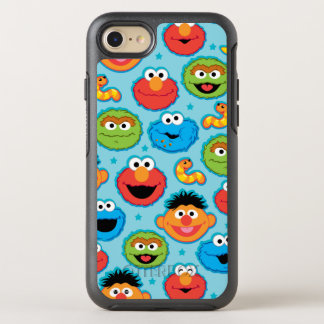 Sesame Street Faces Pattern on Blue OtterBox Symmetry iPhone 8/7 Case