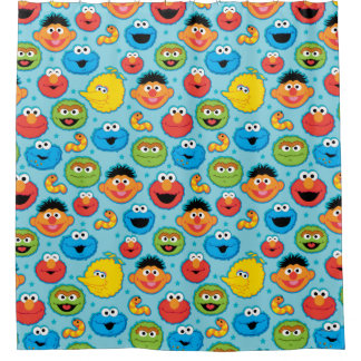 Sesame Street Faces Pattern on Blue Shower Curtain