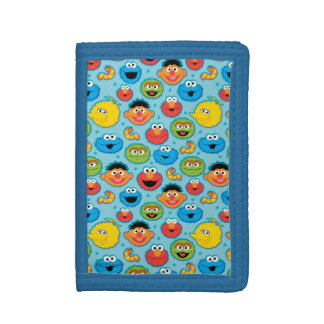 Sesame Street Faces Pattern on Blue Trifold Wallet