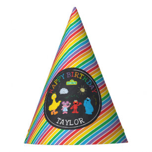 Sesame Street Pals Chalkboard Rainbow 1st Birthday Party Hat