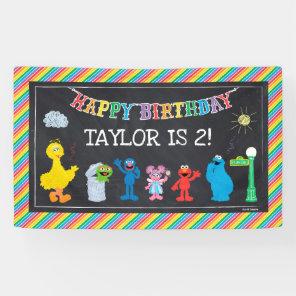 Sesame Street Pals Chalkboard Rainbow Birthday Banner