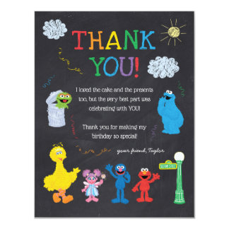 Sesame Street Pals Chalkboard Rainbow Thank You Card