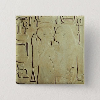Sesostris I  being Embraced by the God Ptah 15 Cm Square Badge