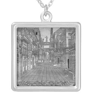 Set design for a tragic scene silver plated necklace