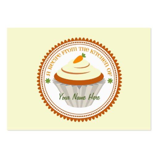 Set Of 100 Recipe Cards - Carrot Cake Cupcake Business Card Template