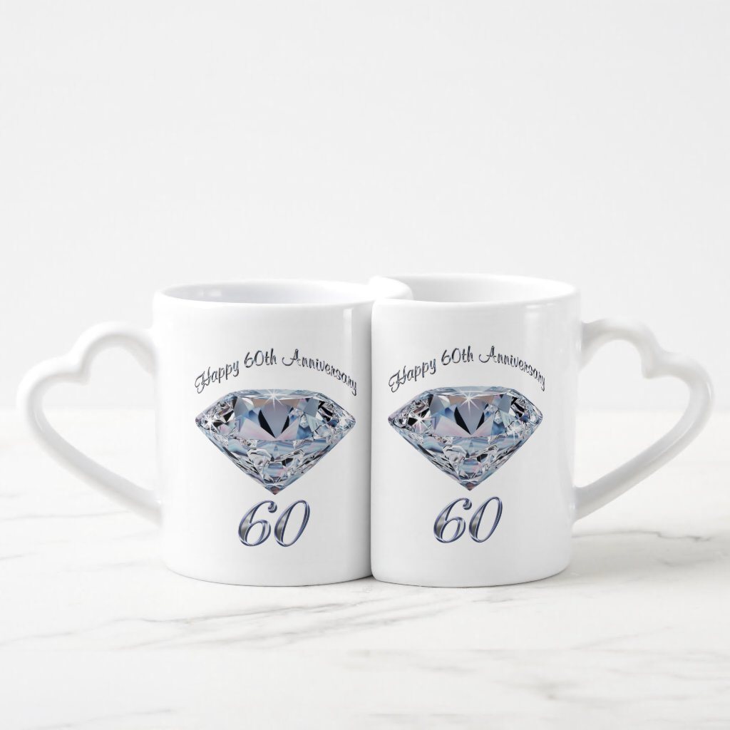 Set of 2 Lovers Mugs Sixtieth Anniversary Gifts