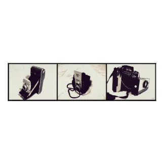 Set of 3 Old Cameras Poster