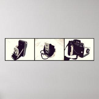 Set of 3 Old Cameras Poster