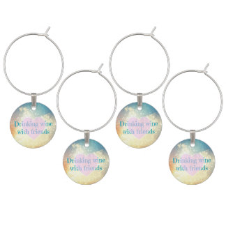 Set of 4 Wine Glass Charms - wine & friends