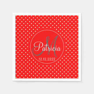 Set Of 50 Strawberry Red Polka Dots. Save In Bulk! Disposable Serviette
