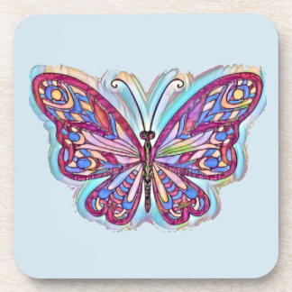 Set of 6 coasters, punk butterfly on blue coaster