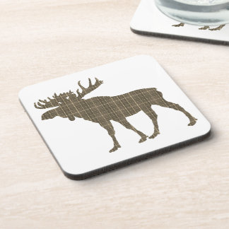 Set Of 6  Drink Coasters plaid moose