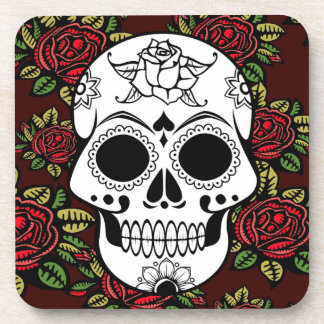 Set of 6 drink coasters Retro red roses skull