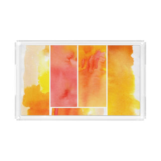 Set of abstract  watercolor hand painted acrylic tray